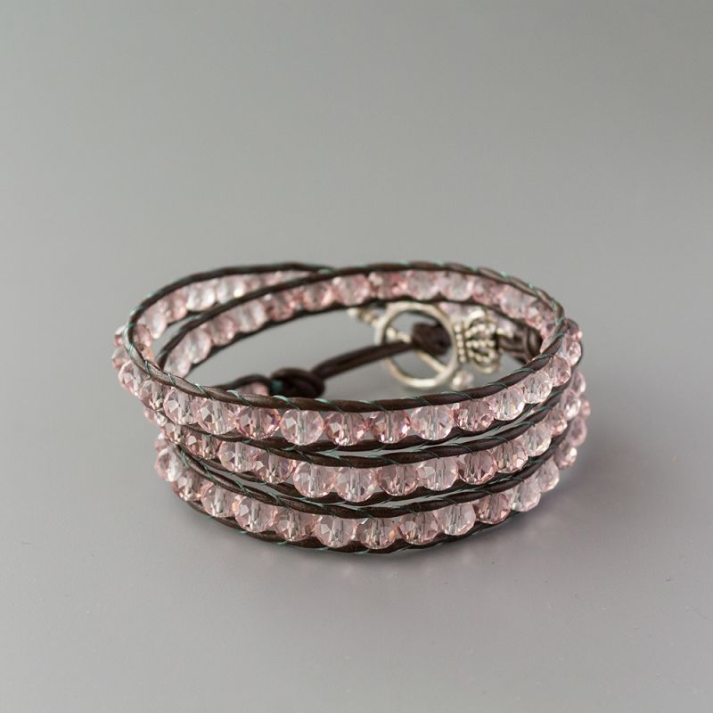 """Дамска увивна гривна - """"Pink Crystal Triple"""""""