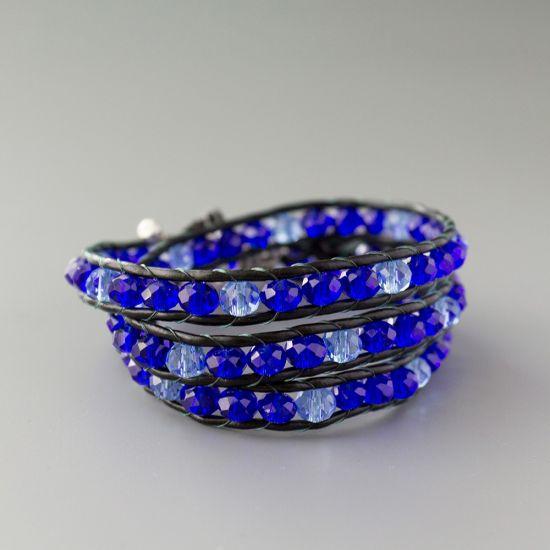 "Дамска увивна гривна - ""Royal Blue Crystal Triple"""