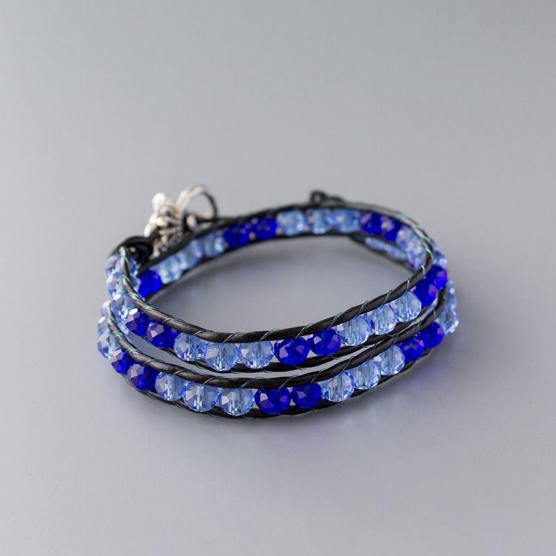 "Дамска увивна гривна - ""Royal Blue Crystal Double"""