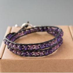 """Дамска увивна гривна - """"Purple Crystal Double"""""""