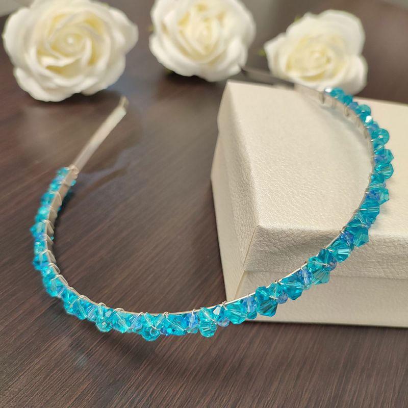 Синя диадема за коса с кристали