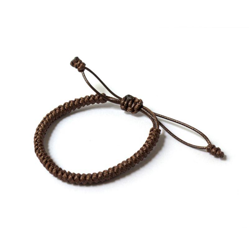 Кафява плетена гривна Тибетски възел на щастието