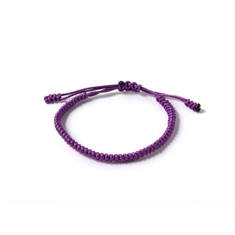 """Виолетова плетена гривна - """"Тибетски възел на щастието"""""""