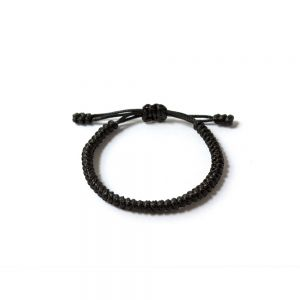 """Черна плетена гривна - """"Тибетски възел на щастието"""""""