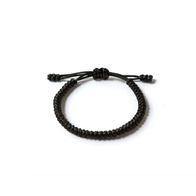 Черна плетена гривна Тибетски възел на щастието