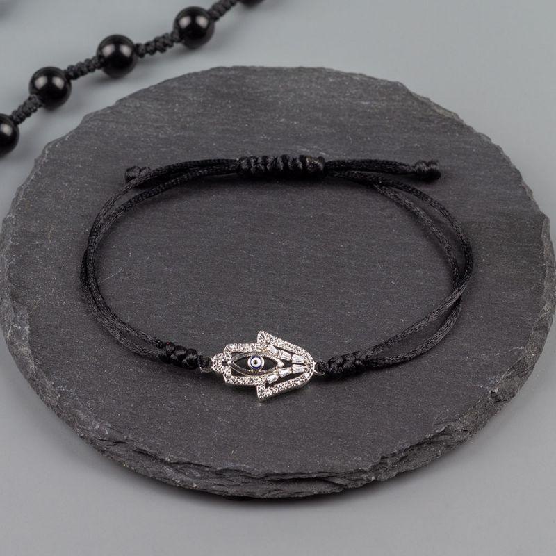 Дамска гривна от черен сатен и Хамса с кристали