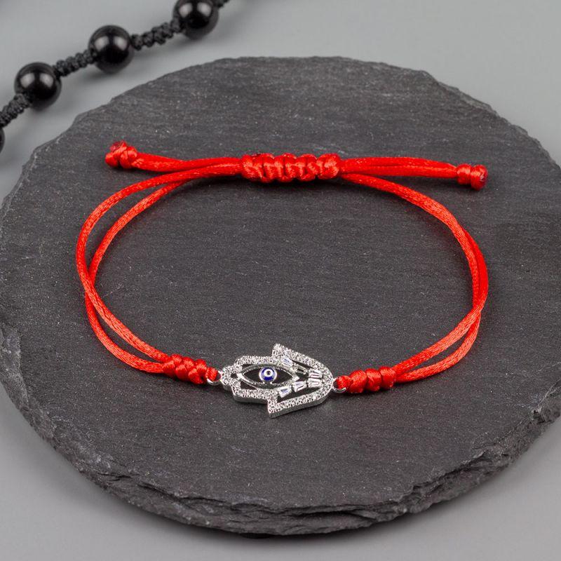 Дамска гривна от червен сатен и Хамса с кристали