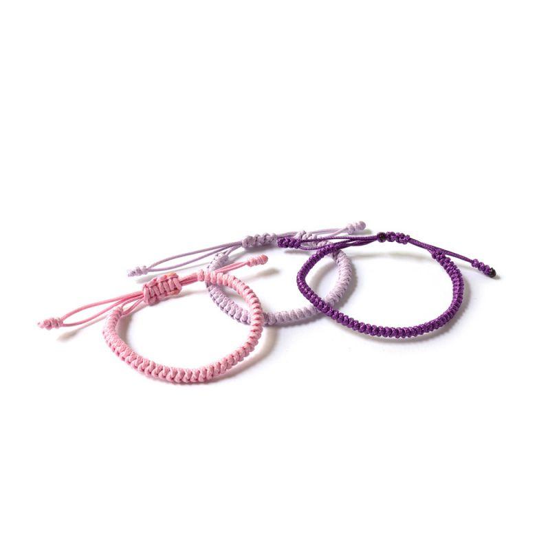Лилава плетена гривна Тибетски възел на щастието