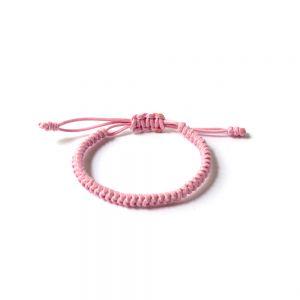 """Розова плетена гривна - """"Тибетски възел на щастието"""""""