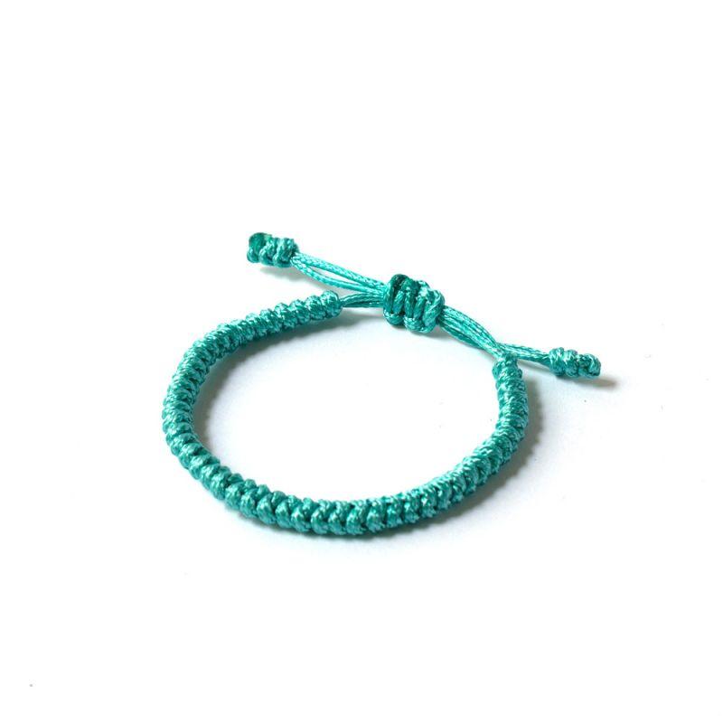 """Тюркоазена плетена гривна - """"Тибетски възел на щастието"""""""