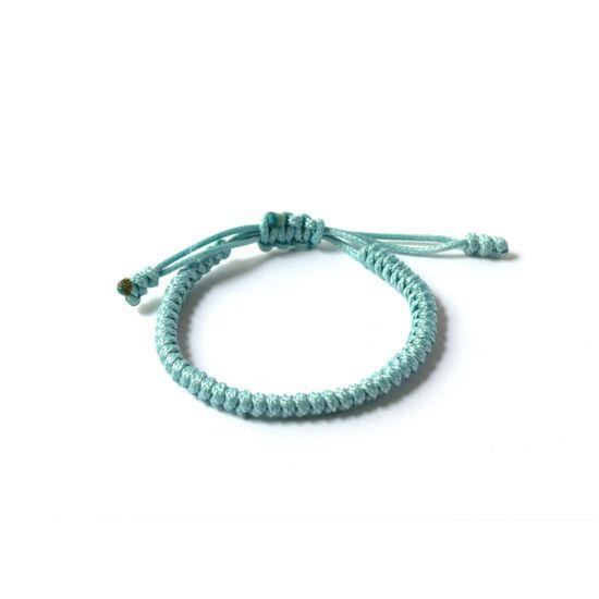 """Светло синя плетена гривна - """"Тибетски възел на щастието"""""""