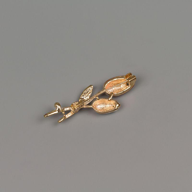 Златиста брошка с кристали и емайлирано покритие Оранжево лале