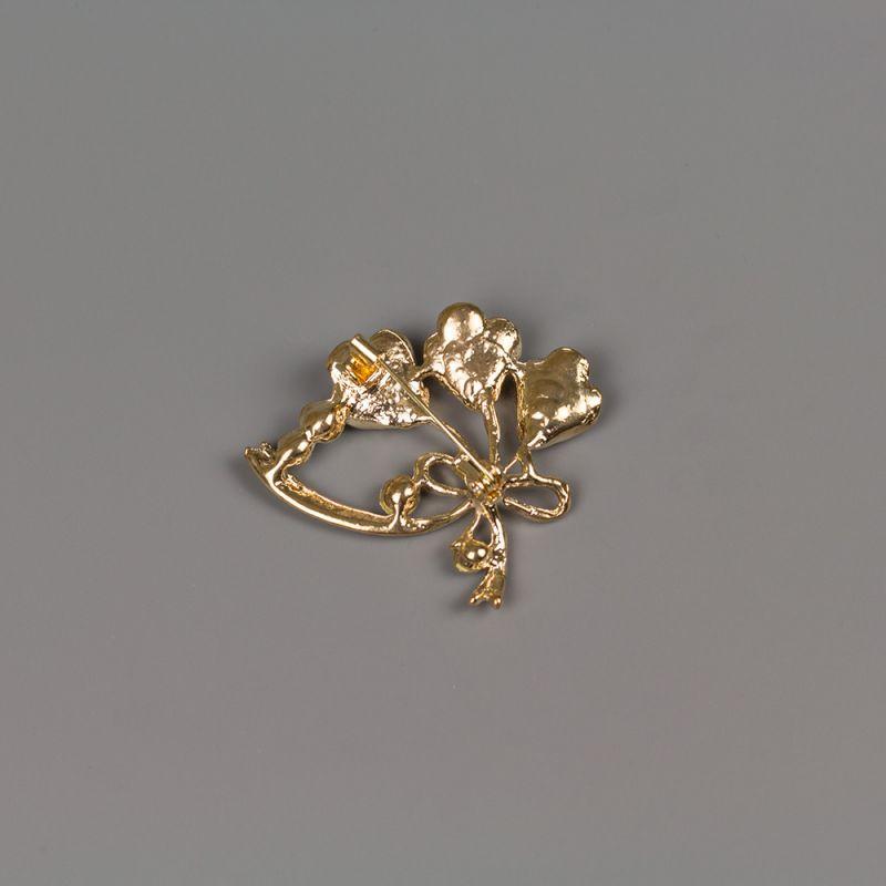Златиста брошка с кристали и емайлирано покритие Златен букет