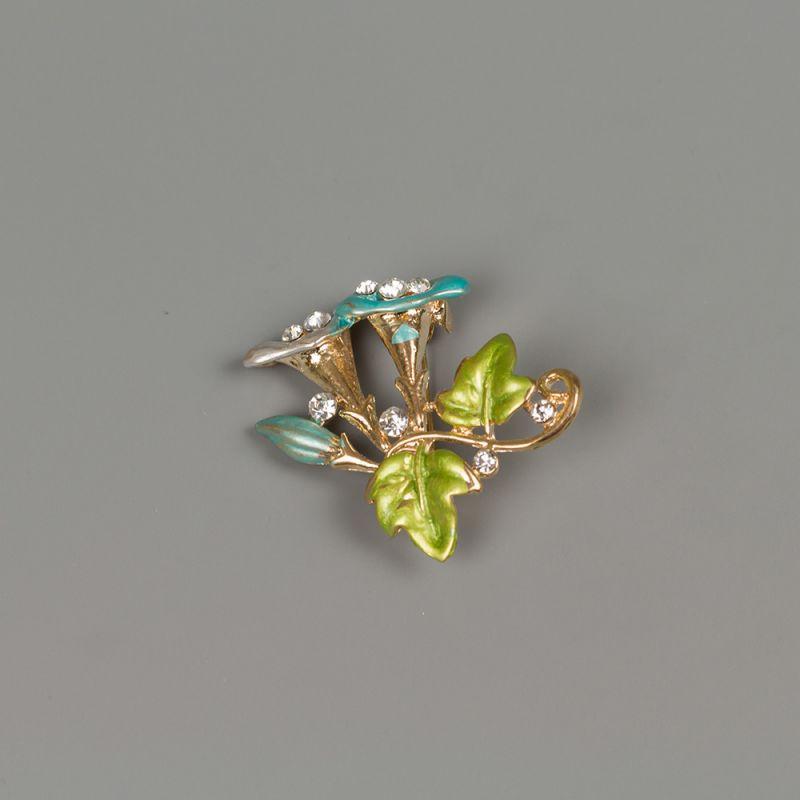 Златиста брошка с емайлирано покритие и кристали - Сини фунийки