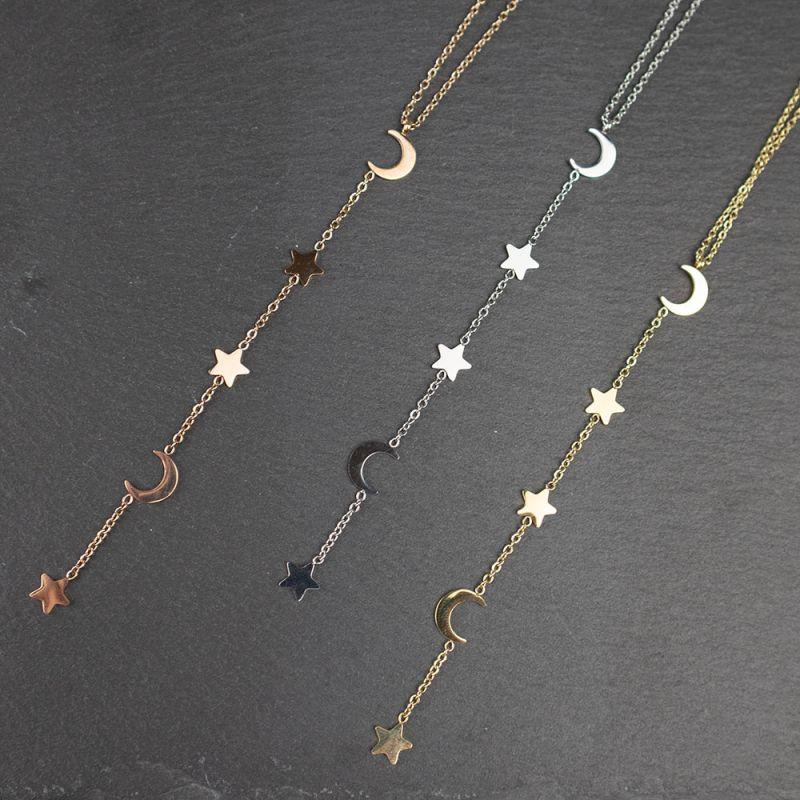 Нежно колие в розово злато от стомана с висулка луни и звезди
