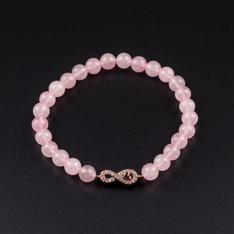 Гривна с безкрайност в цвят розово злато и камък Розов кварц