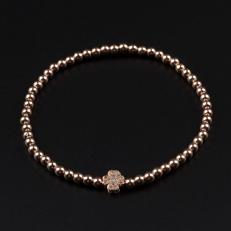 Дамска гривна с детелина и Хематит в розово злато