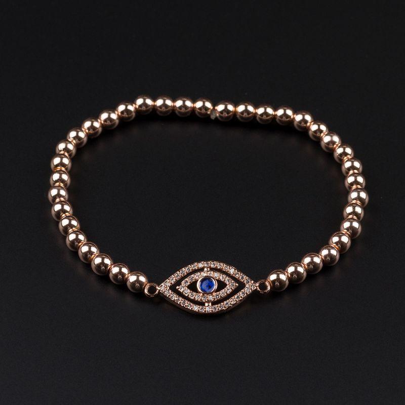 Дамска гривна с око и Хематит в розово злато