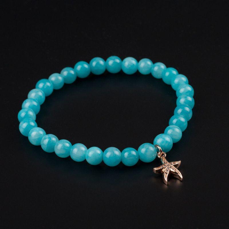 Дамска гривна с морска звезда и камък Жадеит