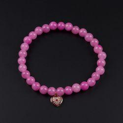 Розова гривна с висулка сърце и камък Жадеит