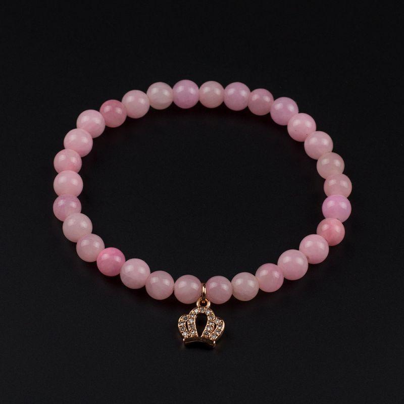 Гривна с корона и камък Жадеит в розов цвят