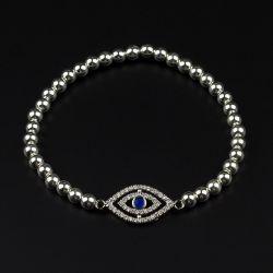 Сребърна гривна с око и Хематит