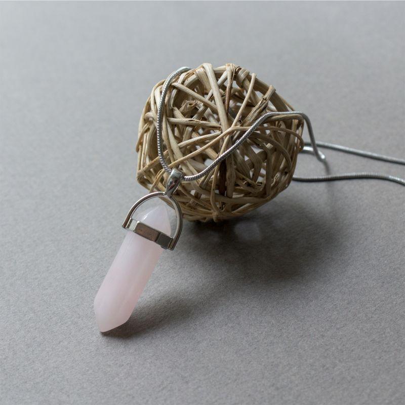 Колие с камък Розов кварц