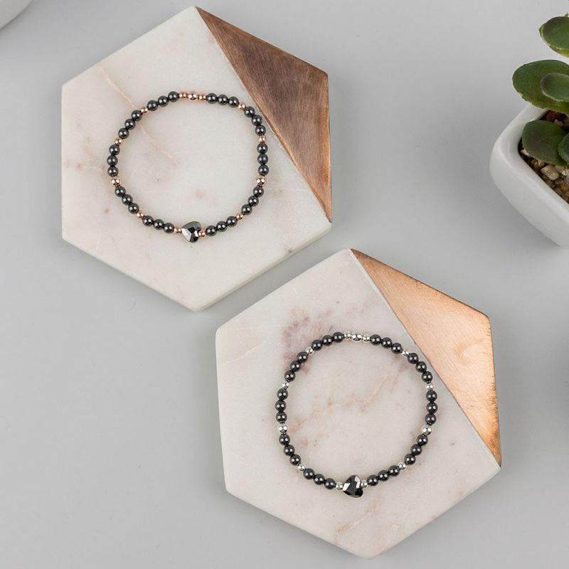 Черна гривна с кристални перли Swarovski и сърце