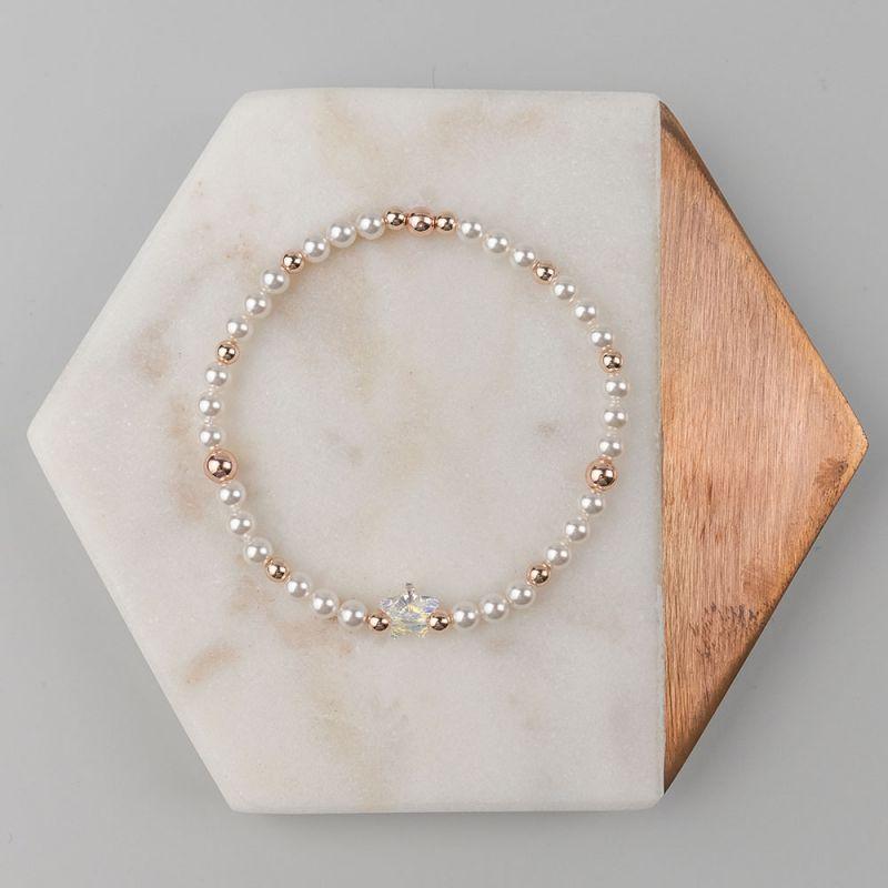 Гривна с кристални перли Swarovski в бяло и розово злато
