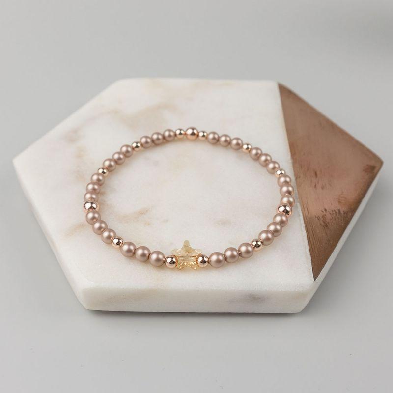 Гривна с кристални перли Swarovski в розово злато и звезда