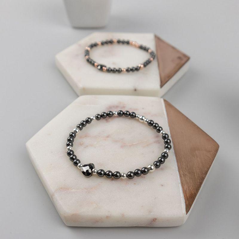 Черна дамска гривна с кристални перли Swarovski и сърце