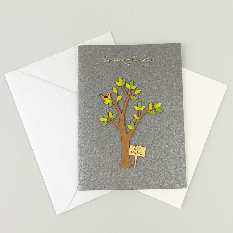 Поздравителна картичка с апликация Best wishes