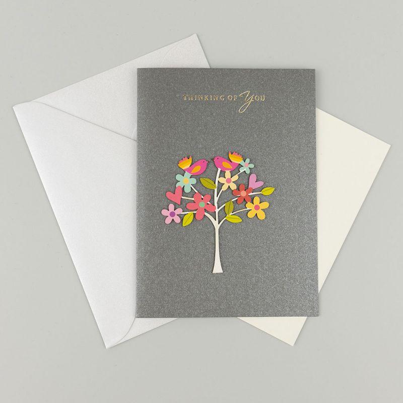 Поздравителна картичка с апликация Thinking of you