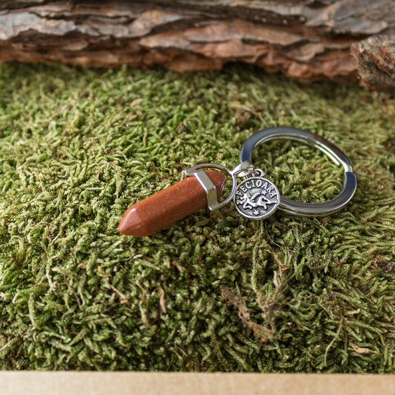 Ключодържател с полускъпоценен камък кафяв Авантюрин