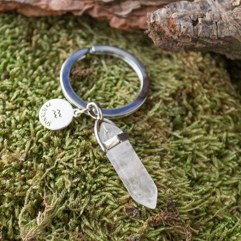 Ключодържател с полускъпоценен камък Планински кристал