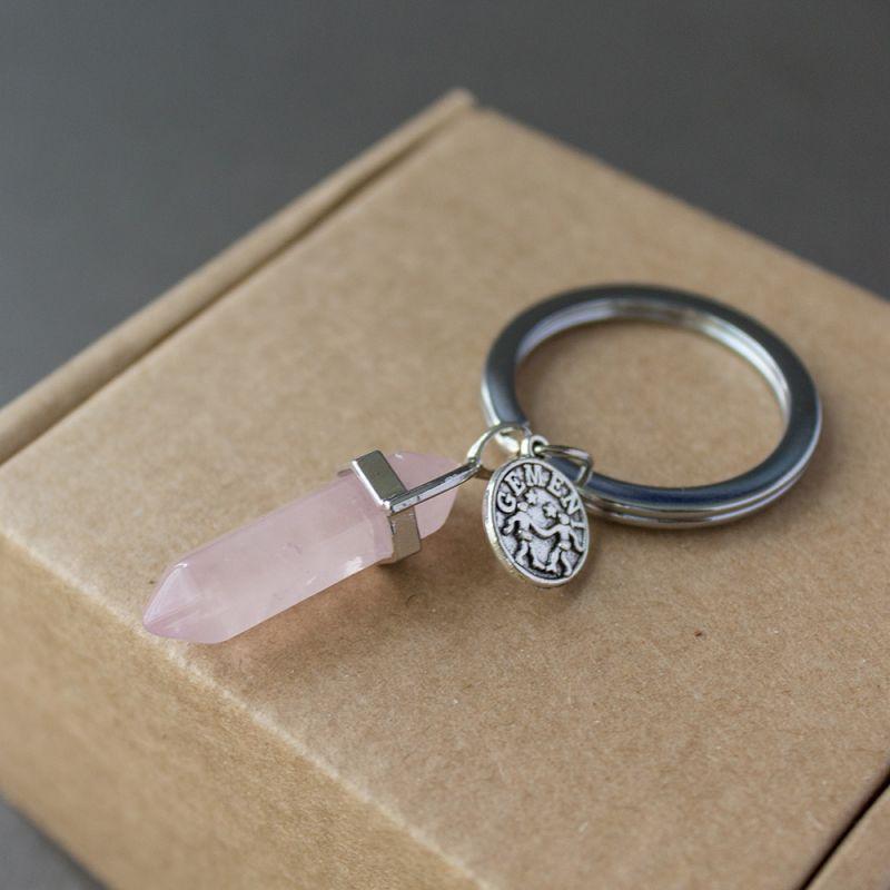 Ключодържател с полускъпоценен камък Розов кварц