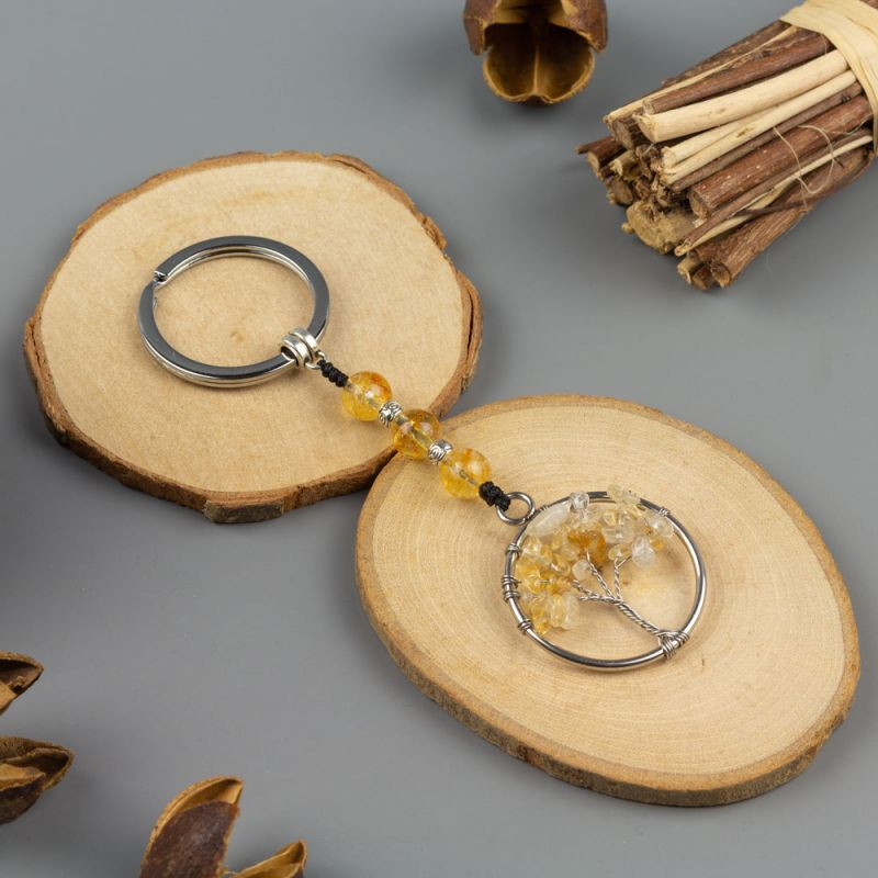 Ключодържател Дърво на Живота с камъни Цитрин