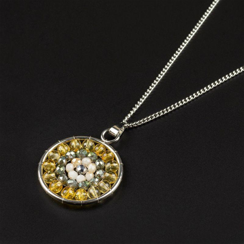 Колие мандала с камък Цитрин и кристали