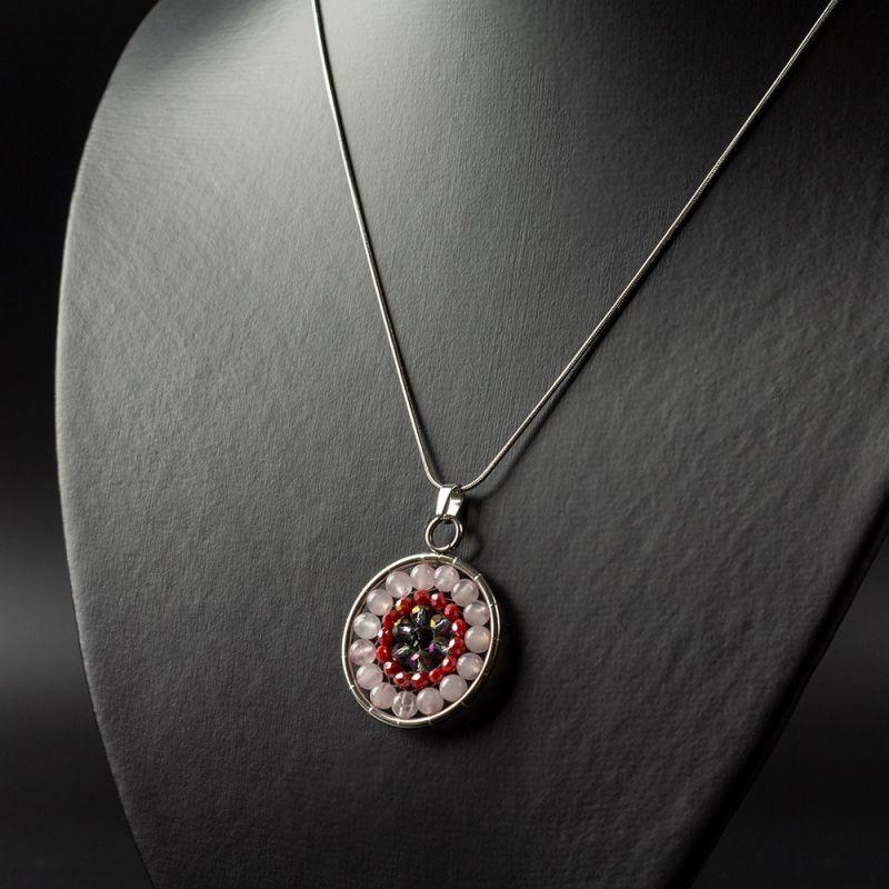 Колие мандала с камък Розов Кварц и кристали