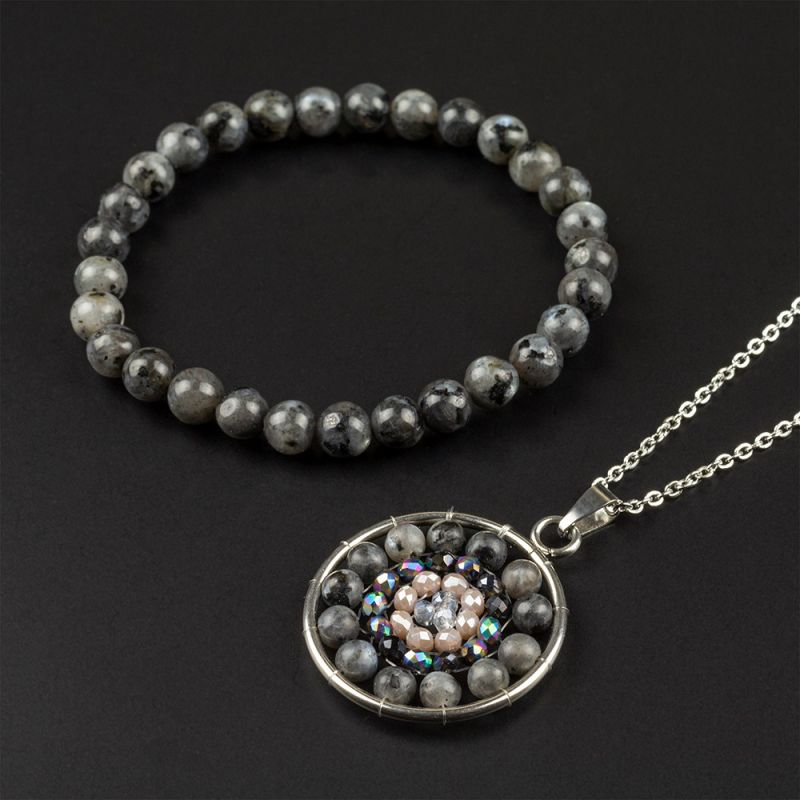 Комплект Колие и Гривна с естествени камъни Лабрадорит