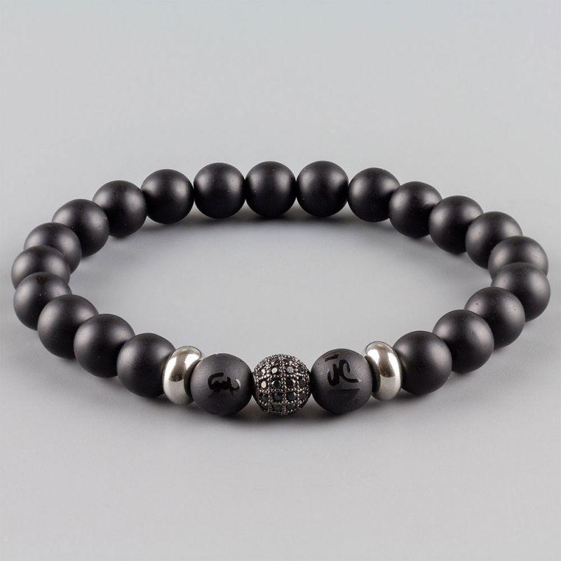 Черна мъжка гривна с камъни Оникс и кубичен Цирконий