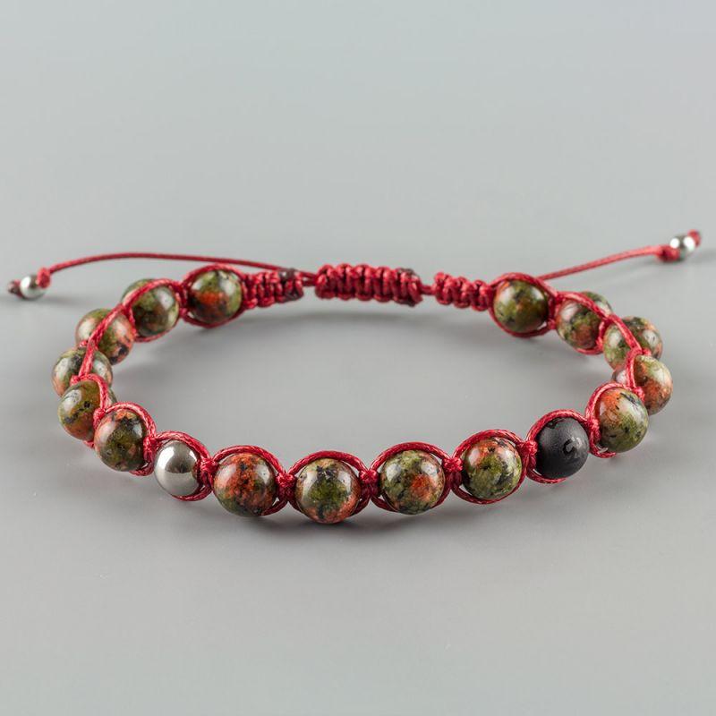Червена мъжка гривна Шамбала с естествени камъни Яспис и Оникс