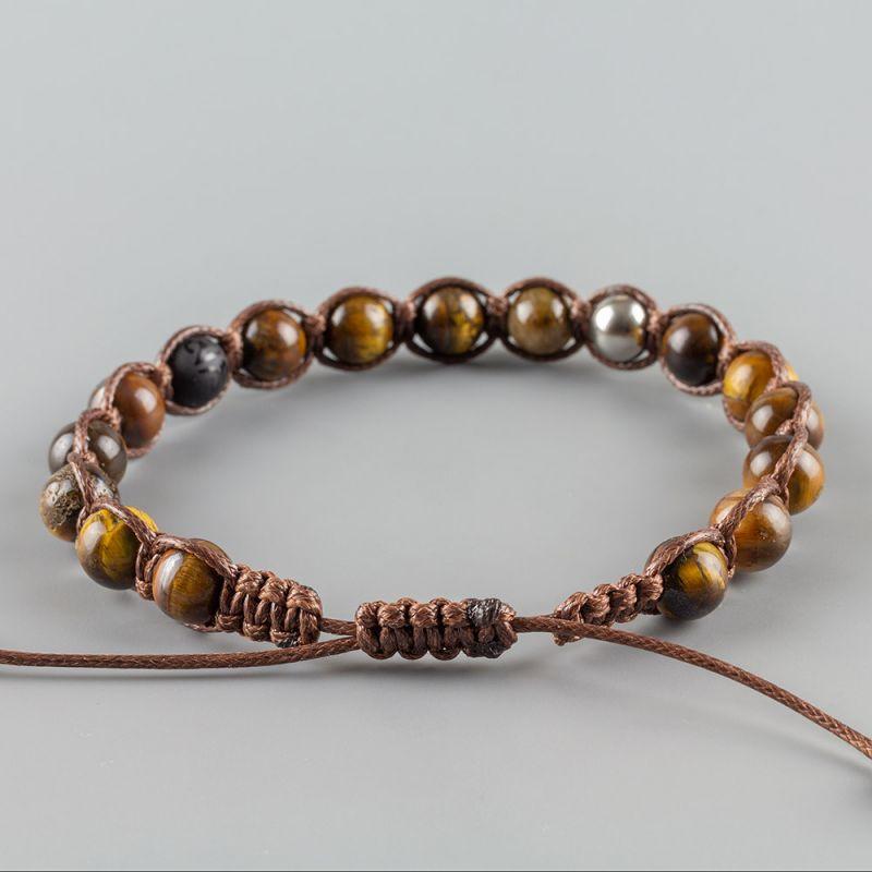 Мъжка гривна шамбала с естествени камъни Тигрово око и Оникс