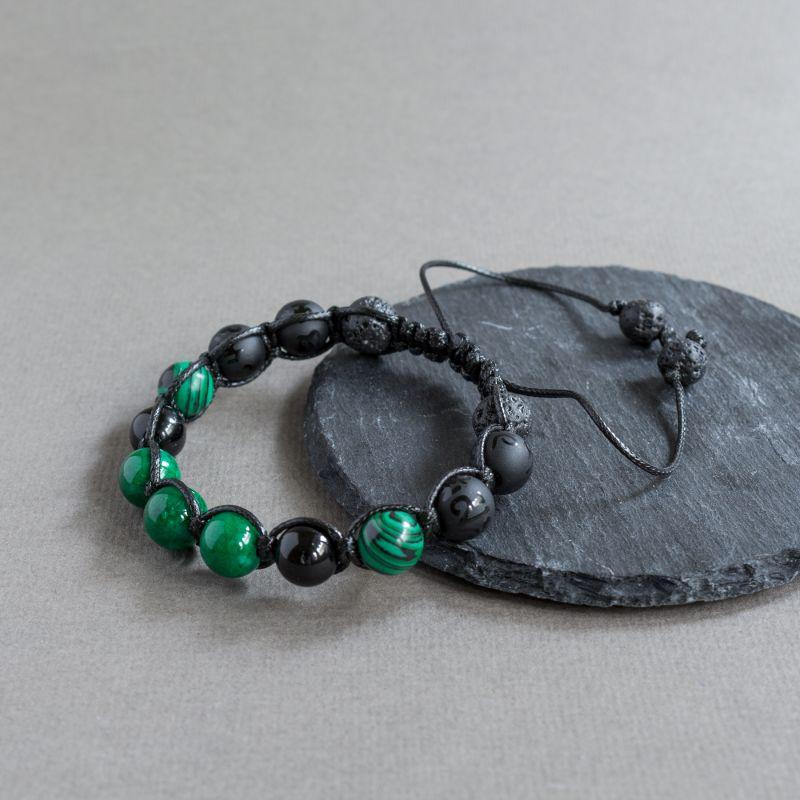 Мъжка гривна шамбала с Вулканичен камък и Малахит