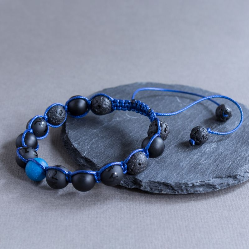 "Мъжка гривна шамбала - ""Blue Mantra"""
