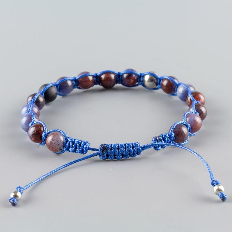 Синя мъжка гривна Шамбала с естествени камъни Ахат и Оникс
