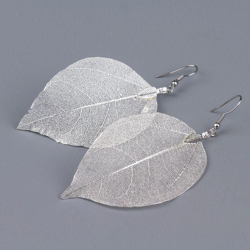 Обеци сребърни листа