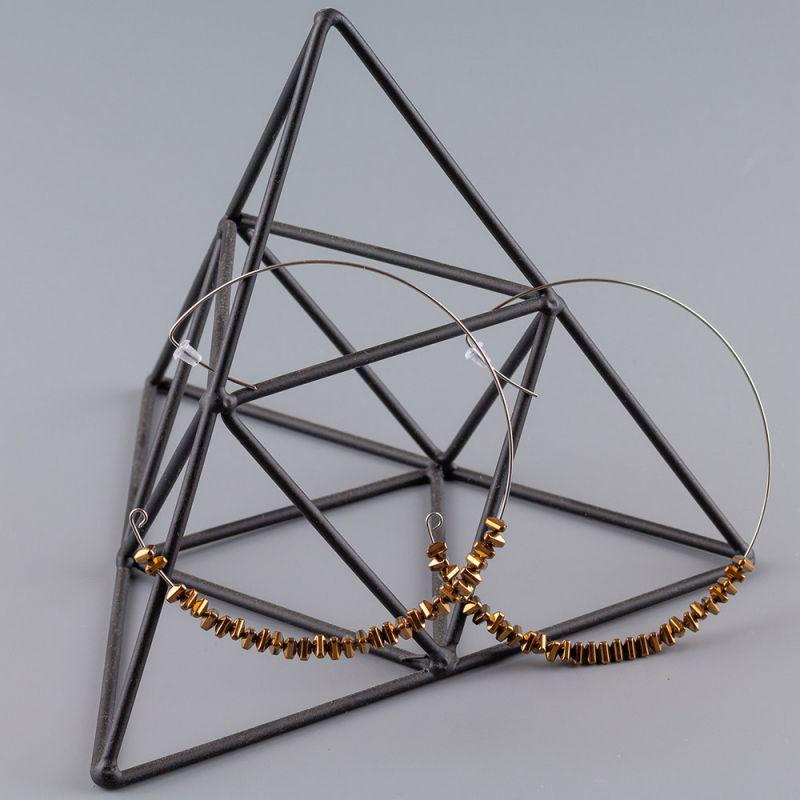 Обеци халки от стомана и Хематит цвят бронз