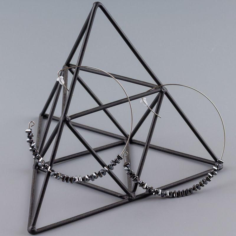 Обеци халки от стомана и Хематит цвят никел