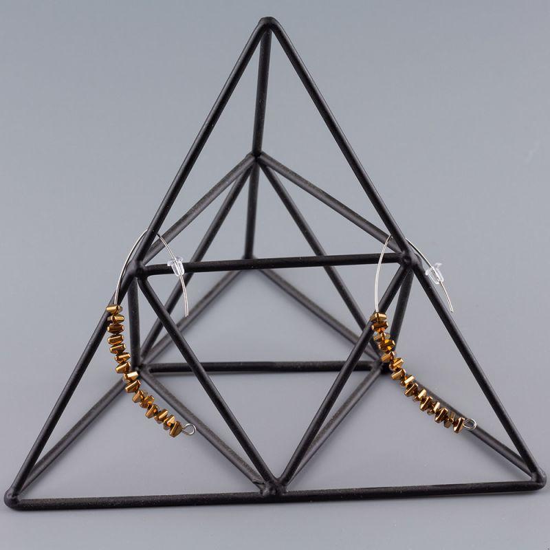 Висящи обеци полукръг с Хематит цвят бронз